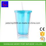 Sans BPA tasse en plastique à double paroi avec de la paille