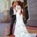 Marfim do vintage fora sereia do laço das luvas do ombro de vestido de casamento apropriado da meia
