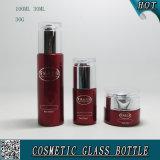 Tampas acrílicas Garrafas de vidro e garrafas de vidro cosméticas Pulverização de cor vermelha