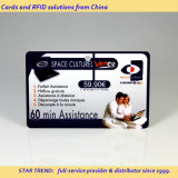 Raspe cartão plástico com código de barras para o cartão recarregável