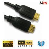19pin de Gouden Geplateerde Kabel van de Steun 4k 60p HDMI van de Schakelaar 2.0V