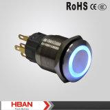 Anti interruttore di pulsante momentaneo chiaro blu dell'interruttore di pulsante di Pin dell'acciaio inossidabile 6 dell'interruttore di pulsante del metallo del vandalo 5V LED