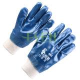 Guanto rivestito del lavoro industriale di sicurezza dei guanti del nitrile resistente di Fullly