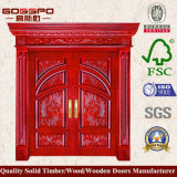 Puerta de madera sólida de lujo de la entrada doble del estilo moderno (GSP1-016)