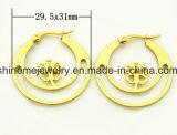 Pendiente del espárrago del oro del laminado del vacío de la joyería de Shineme (ERS6918)