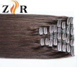 Grampo de cabelo desenhado natural do russo da cor de Brown na extensão do cabelo humano