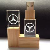 Eco木USB 3Dレーザーの彫版の水晶USB