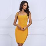 С квадратной шейкой новых женщин порванный жгут платья Sexy желтый спагетти ремешок сарафан мини платье Vestidos вечер