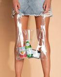 Saco de compras de PVC transparente com pega para uma oferta promocional