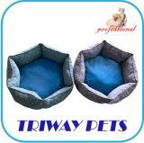 Tecido impresso e Mini-Plush Cão Gato camas redondas WY1711076)