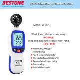Wt82 Indicateur de vitesse du vent de l'anémomètre numérique Flux d'air instrument Affichage LCD de la température de jauge