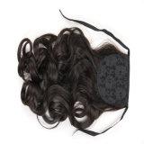 최신 판매 합성 Horsetail 가발 싼 긴 브라운 꼬부라진 묶은 머리 머리 가발 18 인치 컬 Horsetail 가발