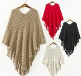 最新のデザイン女性豪華なふさのセーターのポンチョおよび岬のショール