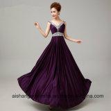 Платье вечера кристаллический шикарный a сексуальной V-Шеи длиннее - линия платье выпускного вечера