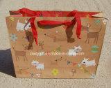 El bolso de compras reciclado del papel de Brown Kraft con modifica la impresión del diseño para requisitos particulares