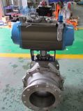 L'azionatore pneumatico fa funzionare la valvola a sfera flangiata (WCB/SS304)