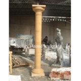 Columna de la escultura de la piedra del mármol del oro para la decoración casera (SY-C017)