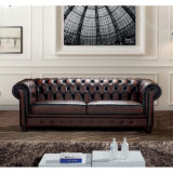 Sofá de couro italiano luxuoso Ms-06# ajustado de Chesterfield do vintage