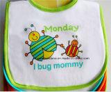 OEMの農産物はロゴによって印刷された綿の白い赤ん坊の送り装置の胸当てをカスタマイズした