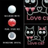 Amor decorativas Cat Nailheads Pernos Pérola Rhinestone transferir o design de hotfix