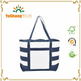 12oz Blue Strip Design Wholesale Custom Print Canvas Tote Bag