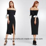 Женщины с платья вечера втулки сборок цвета контраста плеча Split
