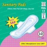 feminine Period 230mm日の使用の翼が付いている厚い女性衛生パッド