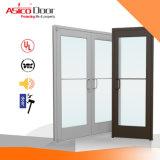 Metálica de acero puerta de cristal con marco de madera