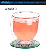 明確なハンドメイドの二重壁のガラス小型Kungfuの茶飲み物のコップ