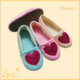 Ladies Warm Cute Home Ballet Sapatos de dança Zipper com Bowknot