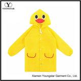 幼児の赤ん坊の安い動物の黄色PVCレインコートのジャケット