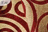 원형 패턴을%s 가진 빨간 셔닐 실 가구 직물