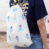 Водоустойчивой Sac гимнастики футбола веревочки шнура белой напечатанный таможней мешок Drawstring Backpack складного Nylon выдвиженческий