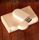Presente de madeira de venda quente do logotipo do laser da movimentação do flash do USB