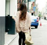 Moda Style Plus Size Bat Sleeve Casaco de lã de lã com malha (66180)