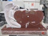 أحمر صوان شاهد القبر ملاك ينحت نصب تذكاريّ شاهد مع قلب مزدوجة