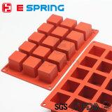 15 moulages de chocolat de sucrerie de moulage de savon de cube en grand dos de silicones de cavité