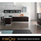 ガラス壁のキャビネットデザインTivo-0164hの新しく標準的なシェーカーの食器棚