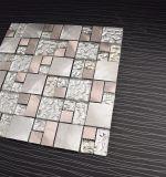 De transparante Tegel van het Mozaïek van het Metaal van het Roestvrij staal van het Glas van het Patroon Mozaïek Gemengde voor Keuken Backsplash