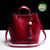装飾的な前部ハングのふさEmg5007が付いている最も新しいSatchel女性ハンド・バッグ100%の実質の革女性のハンドバッグ