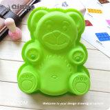 Moulage vert simple de bruit de gâteau de silicones d'ours pour la fête d'anniversaire de chiot