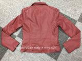 赤いカラー革PUの女性バイクのジャケット