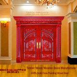 Porta de madeira contínua luxuosa da entrada dobro do estilo moderno (GSP1-016)