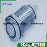 interruptor de tecla do metal de 12mm com luz do diodo emissor de luz e função momentânea