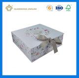 Première boîte-cadeau de papier estampée de couvre-tapis de qualité par coutume blanche de luxe avec le Closing de satin (boîte en carton rigide)