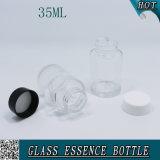 Garrafa de vidro customizada de cilindro claro de 35 ml para essência