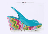 Lady White Rubber Outsole Weave Plate-forme Talons hauts Femmes Sandales
