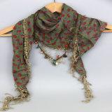 A impressão de moda livre azóicos Triângulo Flores lenço de algodão com acessório de moda Tassells