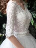 半分の袖のテュルのレースの夜会服のV首のウェディングドレス(夢100093)