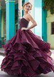 Пурпур отбортовывая без бретелек платье выпускного вечера Ballgown (42137)